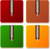 La cremallera coloreada archiva sistemas Fotos de archivo