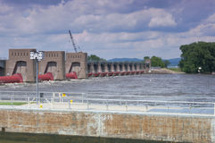 La Crescent Lock and Dam on Mississippi River Royalty Free Stock Images