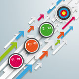 La crescita colorata delle frecce circonda l'obiettivo Fotografie Stock
