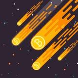 La crescita cripto di valuta di Bitcoin è un calo nella valuta digitale Ascensore di Bitcoin il concetto in uno stile piano Il ta Immagine Stock Libera da Diritti