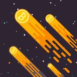 La crescita cripto di valuta di Bitcoin è un calo nella valuta digitale Ascensore di Bitcoin il concetto in uno stile piano Il ta Immagini Stock