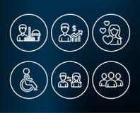 La crescita di affari e disabile e la pulizia assistono le icone Comunicazione della gente, segni del gruppo e di amore Fotografia Stock Libera da Diritti