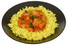 La crevette rose et les poissons indiens de Goan de style corroient le repas dans une cuvette Photographie stock libre de droits