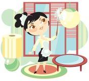 La criada barrerá un polvo Imagen de archivo libre de regalías