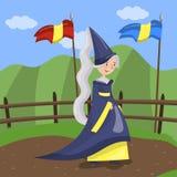 La criada del honor de la reina en un vestido azul y el sombrero acentuado que camina el verano ajardinan el fondo stock de ilustración