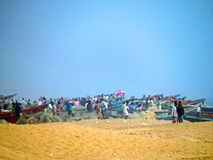 La crique du pêcheur, plage de Chandrabhaga, Konark Odisha photographie stock