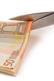 La crisi di euro e taglia dentro la spesa pubblica Fotografie Stock