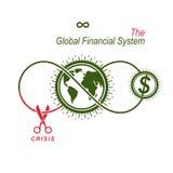 La crisi nel logo concettuale del sistema finanziario globale, VE unica illustrazione di stock