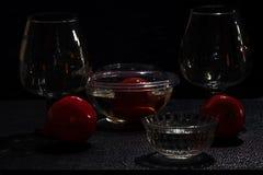 La cristalería y sus reflexiones fotos de archivo