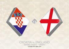 La Croatie contre l'Angleterre, ligue A, groupe 4 Competiti du football de l'Europe illustration de vecteur