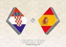 La Croatie contre l'Espagne, ligue A, groupe 4 Concurrence du football de l'Europe illustration de vecteur