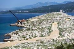 La Croatie, Kvarner, île de Krk, ville de silo Image libre de droits