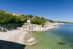 La Croatie, Kvarner, île de Krk, ville de silo Photos stock