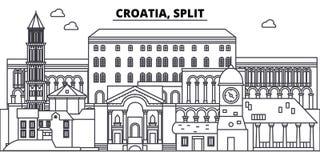 La Croatie, ligne de dédoublure illustration de vecteur d'horizon La Croatie, paysage urbain linéaire de fente avec les points de illustration libre de droits