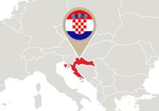 La Croatie sur la carte de l'Europe photo libre de droits