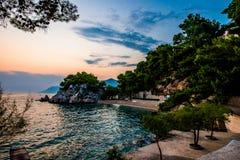 La Croazia è stupefacente al tramonto fotografia stock