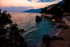 La Croazia è stupefacente al tramonto fotografia stock libera da diritti