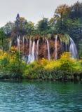 La Croazia Laghi Plitvice Panorama della cascata Fotografie Stock