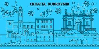 La Croazia, orizzonte di vacanze invernali di Ragusa Il Buon Natale, buon anno ha decorato l'insegna con Santa Claus La Croazia royalty illustrazione gratis