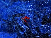 La Croazia sulla mappa digitale blu con le reti Concetto del viaggio internazionale, della comunicazione e della tecnologia illus royalty illustrazione gratis