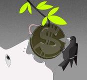 La croissance de revenu, visage d'une personne dans le profil avec une bouche ouverte, essaye de mordre la pièce de monnaie avec  illustration libre de droits