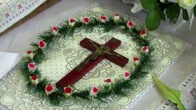 La croix avec crucifié banque de vidéos
