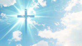 La croix chrétienne semble lumineuse dans le ciel illustration de vecteur