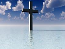 La croix dans l'eau de jour 7 Photos stock