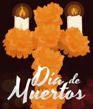 La croix florale avec le souci fleurit pour et x22 ; Dia de Muertos et x22 ; Célébration, illustration de vecteur Images stock