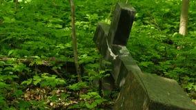 La croix grave de pierre est tombée banque de vidéos