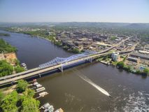 La Crosse is a Community in Wisconsin on the Mississippi River stock image