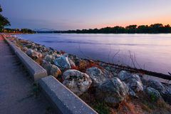 La Crosse Wisconsin River Sunset. Mississippi River and the Cass Street Bridge Sunset From the River Front Park, La Crosse Wisconsin stock image