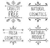 La crudeltà libera, cosmetici naturali, prodotto naturale, cosmetici freschi Scenette di Flourish e lettere scritte a mano Vettor Fotografie Stock