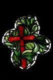 La cruz del cristianismo (vitral) foto de archivo