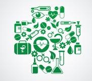 La cruz médica con el icono de la salud fijó en blanco Foto de archivo libre de regalías