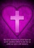 La cruz y el corazón como símbolo para dioses aman Imagen de archivo
