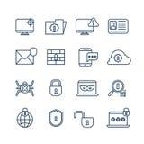 La cryptographie, la sécurité d'Internet et la protection biométrique décrivent des icônes de vecteur illustration stock