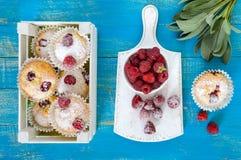 La cuajada apelmaza los molletes con las frambuesas, adornadas con el azúcar en polvo Foto de archivo