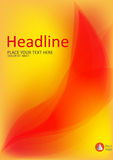 La cubierta con el fuego abstracto se va en fondo amarillo A4 Vector Imagenes de archivo