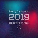 La cubierta cuadrada del Año Nuevo con los ciervos, los globos, las estrellas, los caramelos y el número 2019 ilustración del vector