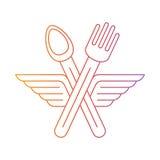 La cuchara del anuncio de la bifurcación cruzó con las alas icono y logotipo Fotos de archivo libres de regalías