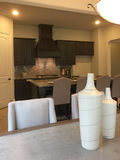 La cucina e la stanza di famiglia moderne progettano in una nuova casa Fotografie Stock Libere da Diritti