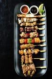 La cucina giapponese ha cotto, yakitori Fotografia Stock Libera da Diritti