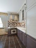 La cucina nell'interno del ceppo in uno stile moderno di marrone e di w Fotografia Stock
