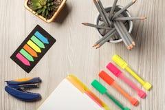 La cucitrice meccanica, colore bookmarks, pianta da appartamento in un vaso, supporto del metallo con Immagine Stock