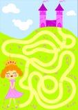 La cueillette de princesse fleurit le jeu de labyrinthe Images libres de droits