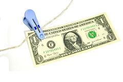 La cuenta de dólar americano de la batería del clip previene la mosca. Fotografía de archivo libre de regalías