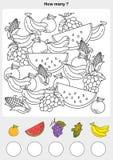 La cuenta y la pintura colorean las frutas libre illustration