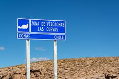 La cuevas roadsign, Chile. La cuevas roadsign, in Chile royalty free stock photography