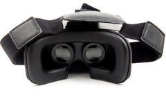 La cuffia avricolare di futuro VR annerisce la mezza vista frontale trasformata realtà virtuale isolata su fondo bianco VR ed esp Fotografie Stock
